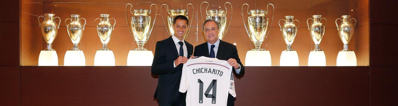 Chicharito with Real Madrid prrsident Florentino Perez [via @realmadrid.com]