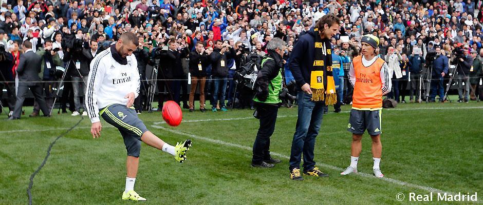 """""""რეალის"""" ფეხბურთელებმა ავსტრალიური ფეხბურთის ბურთითაც ივარჯიშეს"""