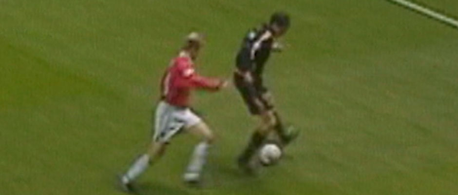 Redondo during the Manchester United - Real Madrid match of 1999