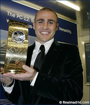 Cannavaro in Zurich with the FIFA World player award