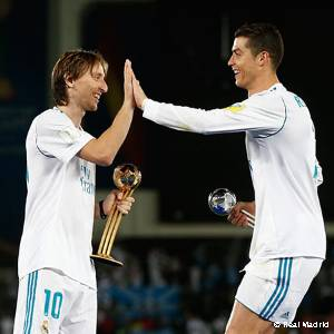 Modric and Cristiano Ronaldo, Golden and Silver Ball winners at the Club World Cup