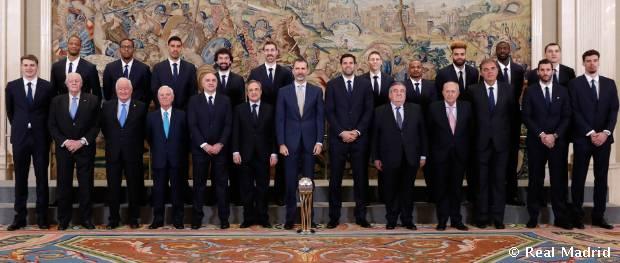 El rey Felipe VI recibió al Real Madrid de baloncesto