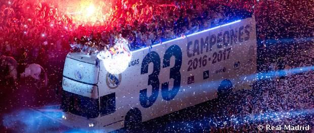 El Real Madrid celebró el título de Liga en la Cibeles